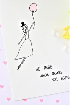 Do more what makes you happy! Motivationsbild Mädchen / Mary Poppins mit einem Motivationsspruch.
