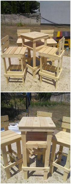 Placing a wood pallet designed chair and table in your house corners will look so unique and attractive. As it is visible enough in this wood pallet project, two sets of chairs are designed with the center small table along with it. Make this interesting wood pallet project part of your house right now!