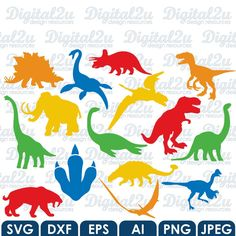 Dinosaur SVG Monogram - Cricut / Silhouette svg dxf eps ai jpeg png design files…