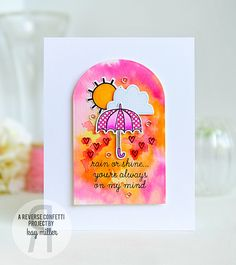 Card by Kay Miller. Reverse Confetti Confetti stamp set: Weather It Together. Confetti Cuts: Weather It Together and Tagged Tote. Watercolor. Friendship card. Encouragement card.