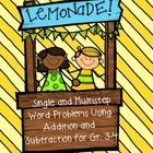 Lemonade Stand has word problems that will have your students thinking. These cute cards are perfect to use in the heat of summer as well as Back t...