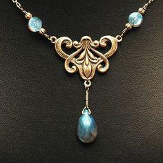Art Nouveau Labradorite --- Vintage Inspired, Art Nouveau Style Iris Necklace With Labradorite