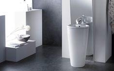 Lavabo pedestal Roma de porcelana, con rebosadero y sin opción de ir en pared.
