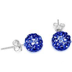 8mm Blue Austrian Crystal Ferido Ball Stud Earrings | Body Candy Body Jewelry #bodycandy