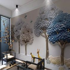 Shop L Large Tree Wall Murals for Living Room Bedroom Scenery Sofa TV Background wallpaper wallpapers home decoration Stickers Art decorations Wall Painting Living Room, Living Room Bedroom, Bedroom Decor, Tree Wall Murals, Home Decor Colors, Custom Wallpaper, Wallpaper Wallpapers, Tree Wallpaper Mural, Indian Home Decor
