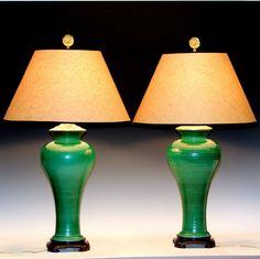 Pair Vintage Mid Century French Art Nouveau Studio Pottery Porcelain Lamps Vases | eBay