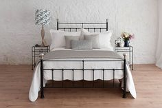 Named after our friends Peter and Linda's first daughter, Sophie is a traditional wrought iron bedstead. A classic Victorian design but by lowering the tailboard this bed is given a contemporary twist. Luxury Bedroom Design, Interior Design, Wrought Iron Bed Frames, Country Cottage Bedroom, Victorian Bed, Victorian Design, Beds Uk, Superking Bed, Brass Bed