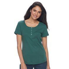 Women's Croft & Barrow® Henley Tee, Size: Medium, Green