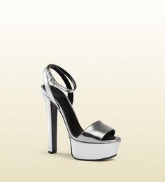 metallic leather platform sandal