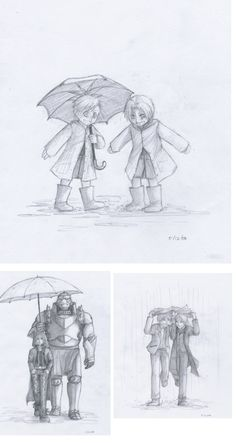 Elric bros. in the rain by dontcallmesmall. I love how they are serious when Alphonse is armor but they look like carefree best friends when they are both human.