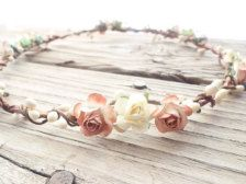 Ivory Rustic Flower Crown Hair wreath Ivory wedding hair wreath Bridal Floral Crown Flower halo Woodland hair wreath wedding hair garland