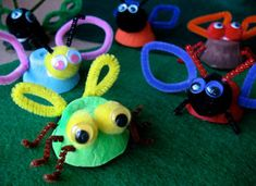 Egg Cup Insects- cut egg cups out of egg carton.Paint in various colors. Create insect wings by cutting and bending chenille stems into various different shapes for legs, wings, and antennae.Use a sharp pencil, or craft knife to poke a hole in each side of the egg cup, insert wings into the holes. Turn egg cup upside down and bend ends of chenille stems against the side of the cup to help hold them in place. Using  pom-poms for heads or eyes.