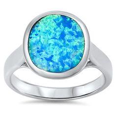 925 Sterling Silver Oval Shape Blue Lab Australian Fire Opal Ladies Fashion…