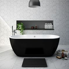 SHOP the Luxury Verona Black Freestanding Modern Bath at Victorian Plumbing UK Modern Baths, Contemporary Bathrooms, Modern Bathroom Design, Bathroom Interior Design, Bath Design, Bad Inspiration, Bathroom Inspiration, Black Bathtub, Verona