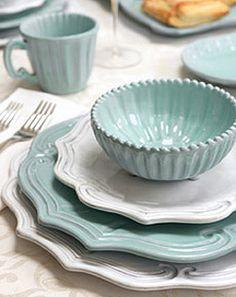 Vietri's Incanto Aqua (10 Items Available) #italian_dinnerware #Vietri #mix_and_match_dinnerware