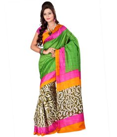 Majestic Multi and Pink Color Printed Saree. Grace a wedding wearing this Bhagalpuri Silk saree. This saree will keep you comfortable all day long. This saree is quite comfortable to wear and easy to drape as well. This saree comes with matching unstitch Blouse. #casualsaree, #printedsaree http://www.addsharesale.com/