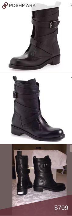 """AUTH JIMMY CHOO DALSTON LEATHER BOOTS BLACK SIZE 6 Brand Jimmy Choo•In stock Wraparound straps retain an edgy air in a refined moto-inspired boot, shaped in polished leather. Staked heel, 1.5"""" (40mm). Shaft, 6"""". Jimmy Choo Shoes Combat & Moto Boots"""