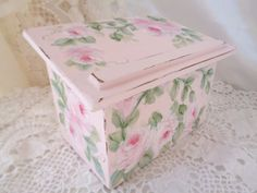 Hand Painted by sunny-sommers & avail on eBay. LOVELY RECIPE TRINKET BOX hp roses chic shabby vintage cottage wood hand painted #Vintage #FrenchCountry