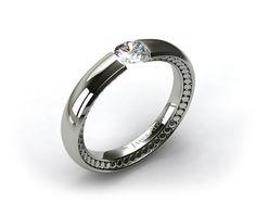 Platinum Contoured Circles Tension V150 by Danhov Designer Engagement Ring