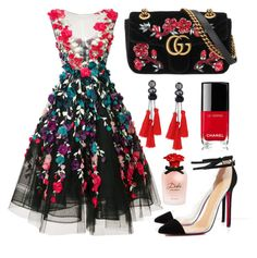 """Untitled #18"" by bbszilvi on Polyvore featuring Marchesa, Gucci, Chanel and Dolce&Gabbana"