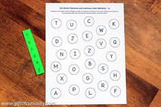 FREE Dot Sticker Uppercase and Lowercase Letter Matching printable activity supports letter knowledge and fine motor skills at the same time. What a fun idea for teaching the alphabet while kids are going through a sticker-loving phase!    Gift of Curiosity