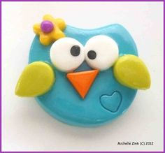 Polymer Clay Bead or Bow Center Funky Owl in Turquoise & Wasabi. $2.50, via Etsy.