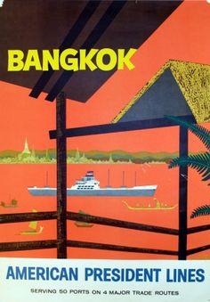 Bangkok, American President Lines - original 1958 travel poster listed on AntikBar.co.uk