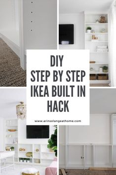 IKEA billy bookcase built in hack! See these step by step instructions with tips for how to create a custom built in bookshelf. Add storage and beauty to your living room or office! Ikea Billy Bookcase, Built In Bookcase, Diy Furniture Projects, Diy Home Decor Projects, Ikea Built In, Using A Paint Sprayer, Diy Step By Step, Quick Crafts, Home Fix