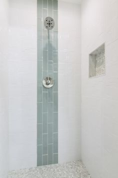 Bathroom shower focal point tile - Lake Shore Glass Subway Tile 3 x 12 in. Tiny House Bathroom, Modern Bathroom, Master Bathroom, Minimalist Bathroom, Lake Bathroom, Glass Tile Bathroom, Bathroom Flooring, Blue Tile Bathrooms, Textured Tiles Bathroom