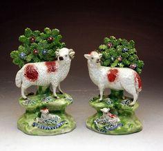 these Staffordshire sheep are soooo wonderful! I have the wants! Cir. 1830