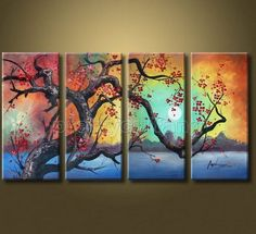 Modern Hand-Painted Large Abstract Tree Flowers Landscape Oil Painting Php427 | eBay