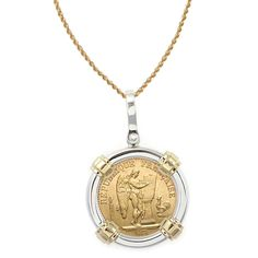 American Coin Treasures 14k Gold Sterling Silver French 20 Franc Lucky Angel Gold Piece Coin Bezel P