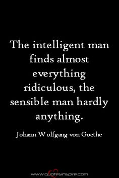 The intelligent man finds almost everything ridiculous, the sensible man hardly anything. Johann Wolfgang von Goethe