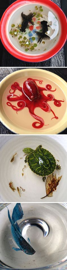 Animals painted with acrylic paint in layered cold resin by Keng Lye