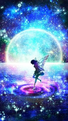 Galaxy Fairy Wallpaper, Scenery Wallpaper, Cute Wallpaper Backgrounds, Cute Wallpapers, Fantasy Art Landscapes, Fantasy Landscape, Beautiful Fantasy Art, Beautiful Paintings, Anime Galaxy