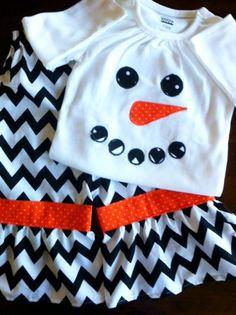 Snowman winter girls shirt and ruffle pants by SerendipityKidsBque