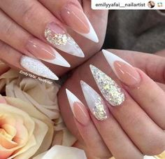 Wedding Nails-A Guide To The Perfect Manicure – NaiLovely Bling Nails, Gold Nails, White Nails, My Nails, White Glitter, Glitter Nails, Stiletto Nail Art, Acrylic Nails, Coffin Nails