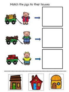The Three Little Pigs. Adapted Book and. by Polka Dot Poodle English Activities, Kids Learning Activities, Three Little Pigs Story, Printable Preschool Worksheets, Third Grade Science, Teachers Aide, Physics Classroom, Special Needs Kids, Classroom Displays