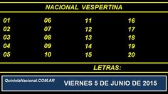 Quiniela Nacional Vespertina Viernes 5 de Junio de 2015. Fuente: http://quinielanacional.com.ar Pizarra del sorteo desarrollado en el recinto de Loteria Nacional a las 17:30 horas. La jugada Vespertina se efectuó con total normalidad.