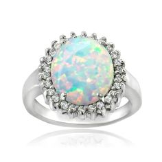 Glitzy Rocks Sterling Silver Created Opal and Cubic Zirconia Oval Ring (2/5 ct TGW)