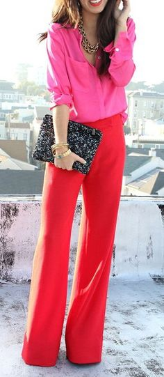 Hot Pink Button-Down Blouse, Hot Red Trouser and Sparkly Black Sequined Envelope Clutch. Always a winner. I could never get away with this, but a girl can dream, right?