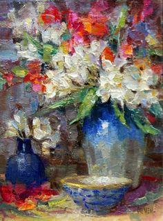 Oleander Bouquet, painting by artist Julie Ford Oliver