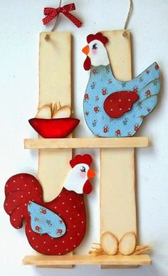 Previous Next Decorative Kitchen Objects Source by Previous Next Chicken Crafts, Chicken Art, Tole Painting, Painting On Wood, Wooden Crafts, Diy And Crafts, Craft Projects, Projects To Try, Diy Ostern