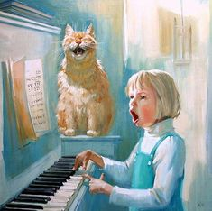 Singing together Maria Pavlova (Мария Павлова), Russia. Crazy Cats, I Love Cats, Cute Cats, Illustrations, Illustration Art, Animal Gato, Photo Chat, Cat Drawing, Cat Art