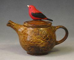 Red Bird teapot by Lucky Rabbit Pottery