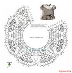 10 Christmas Wreath Crochet Patterns - H - Diy Crafts Crochet Collar Pattern, Col Crochet, Crochet Lace Collar, Crochet Chart, Crochet Stitches, Crochet Baby, Crochet Patterns, Crochet Toddler Dress, Crochet Clothes