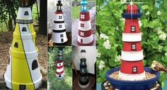 Cool lighthouses made from ceramic flower pots!