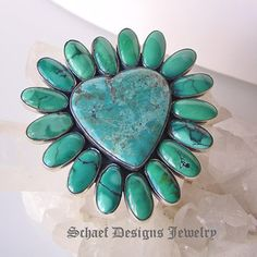 Federico signed blue turquoise & sterling silver small heart pin pendant | Schaef Designs upscale turquoise, Southwestern, mexican artisan handcrafted Jewelry | online jewelry gallery | San Diego CA