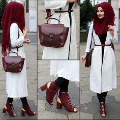Pinterest: @adarkurdish Modern Hijab Fashion, Islamic Fashion, Abaya Fashion, Muslim Fashion, Modest Fashion, Hijab Style Dress, Hijab Outfit, Modele Hijab, Hijab Collection