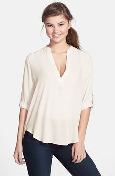 Lush Roll Tab Sleeve Woven Shirt available at #Nordstrom